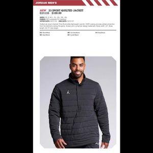 Brand New! Men's Jordan Quilted Jacket 1/2 Snap PO
